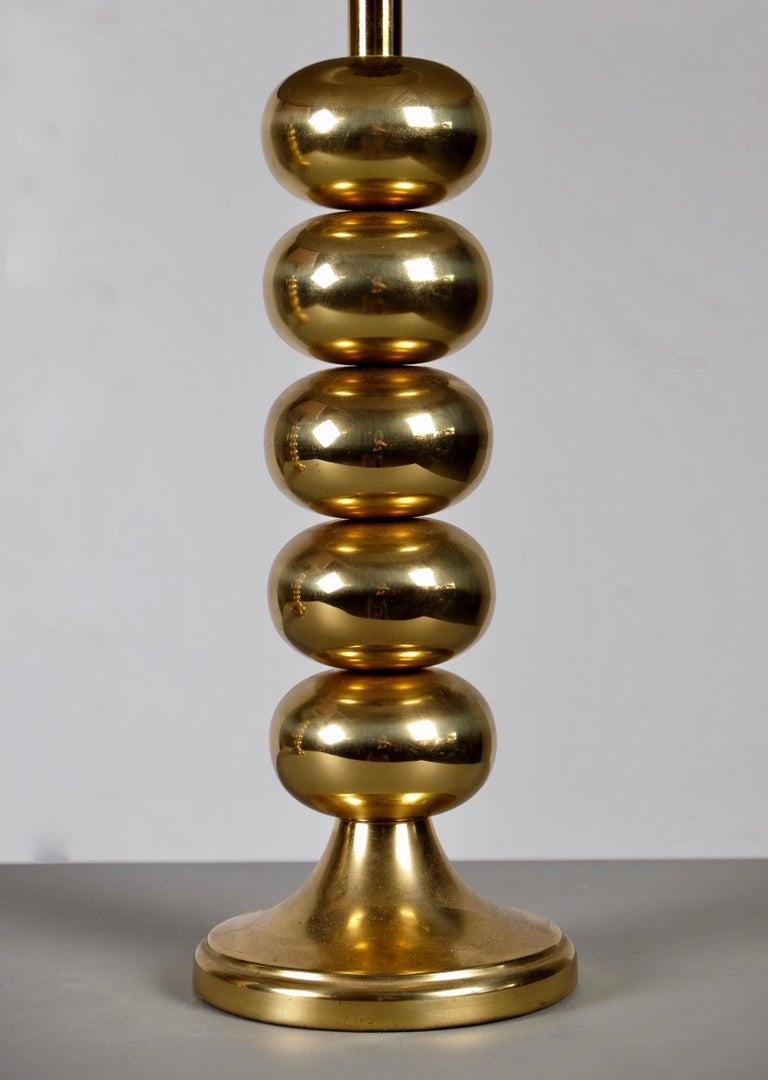 Velvet Pair of Brass Table Lamps by Aneta, Sweden, 1970s For Sale