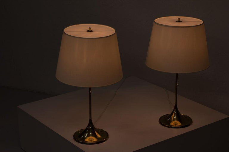 Pair of Brass Table Lamps by Bergboms, Sweden, 1960s 4