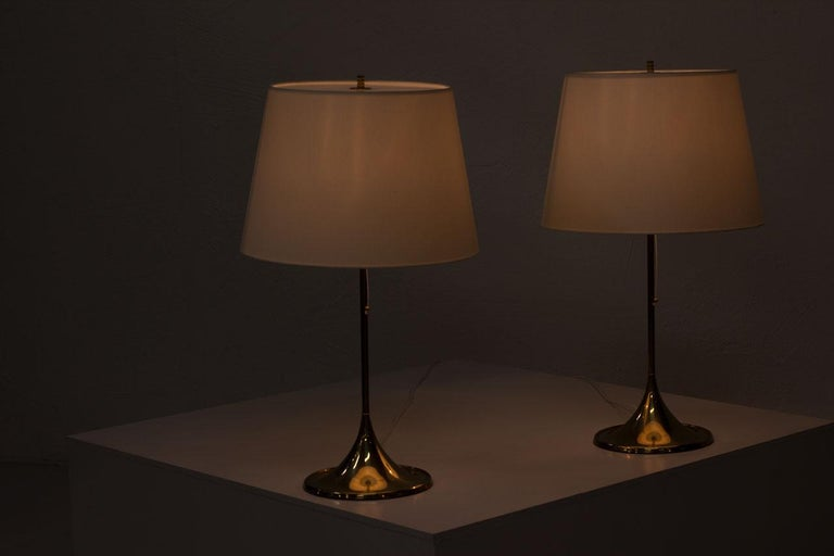 Pair of Brass Table Lamps by Bergboms, Sweden, 1960s 5