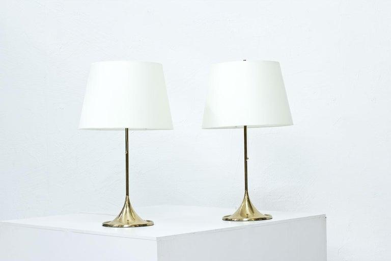 Scandinavian Modern Pair of Brass Table Lamps by Bergboms, Sweden, 1960s