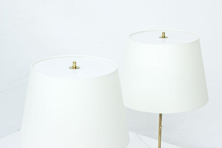 Swedish Pair of Brass Table Lamps by Bergboms, Sweden, 1960s