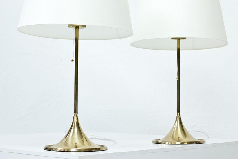 Pair of Brass Table Lamps by Bergboms, Sweden, 1960s In Good Condition In Stockholm, SE