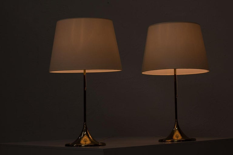 Pair of Brass Table Lamps by Bergboms, Sweden, 1960s 6