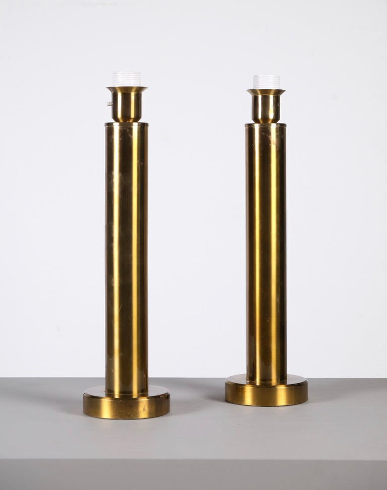 Scandinavian Modern Pair of Brass Table Lamps by Kosta Belysning, Sweden, 1970s For Sale