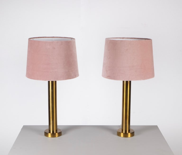 Pair of Brass Table Lamps by Kosta Belysning, Sweden, 1970s In Good Condition For Sale In Stockholm, SE