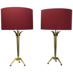 Pair of Brass Table Lamps by Maison Arlus for Maison Jansen, France, 1950s