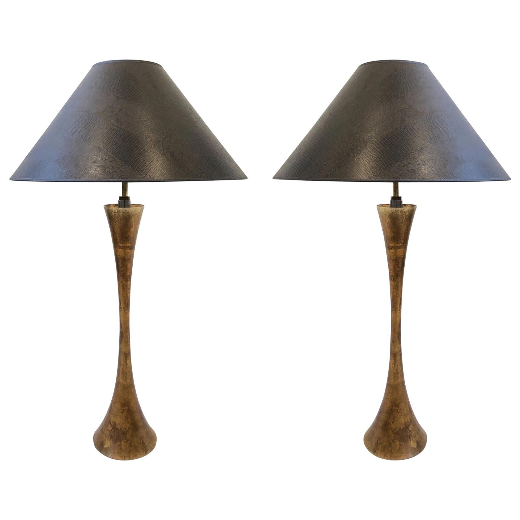 Pair of Brass Table Lamps by Stewart Ross James