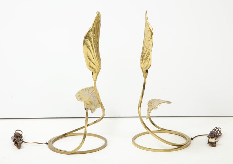Pair of Brass Table Lamps by Tomasso Barbi For Sale 6
