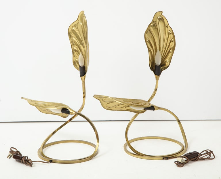 Pair of Brass Table Lamps by Tomasso Barbi For Sale 9