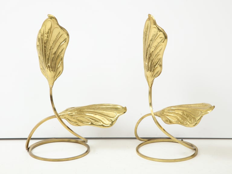 Mid-20th Century Pair of Brass Table Lamps by Tomasso Barbi For Sale