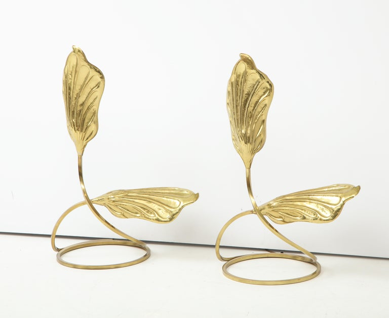 Pair of Brass Table Lamps by Tomasso Barbi For Sale 1