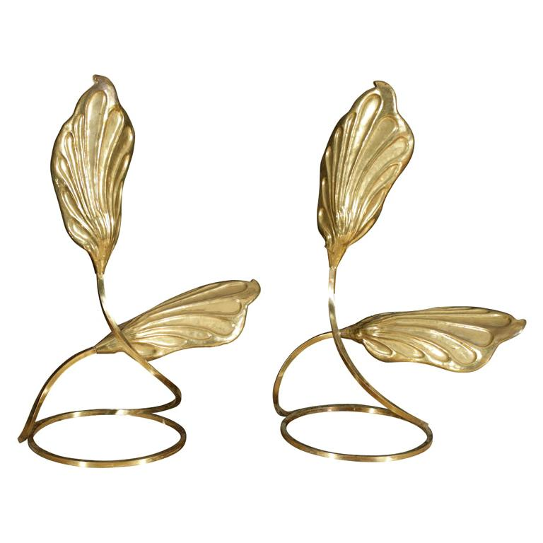 Pair of Brass Table Lamps by Tomasso Barbi For Sale