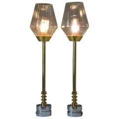 Pair of Brass Table Lamps, Confinement Collection by JAS