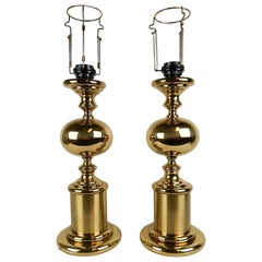 Pair of Brass Table Lamps Enco Sweden, 1960s