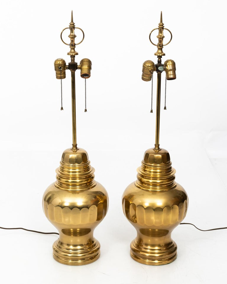 Pair of Brass Table Lamps For Sale 1