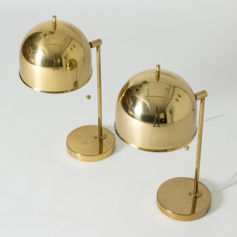 Scandinavian Modern Pair of Brass Table Lamps from Bergboms, Sweden, 1960s For Sale