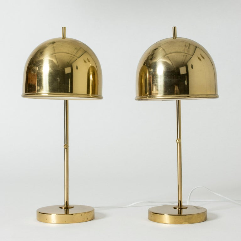 Swedish Pair of Brass Table Lamps from Bergboms, Sweden, 1960s For Sale