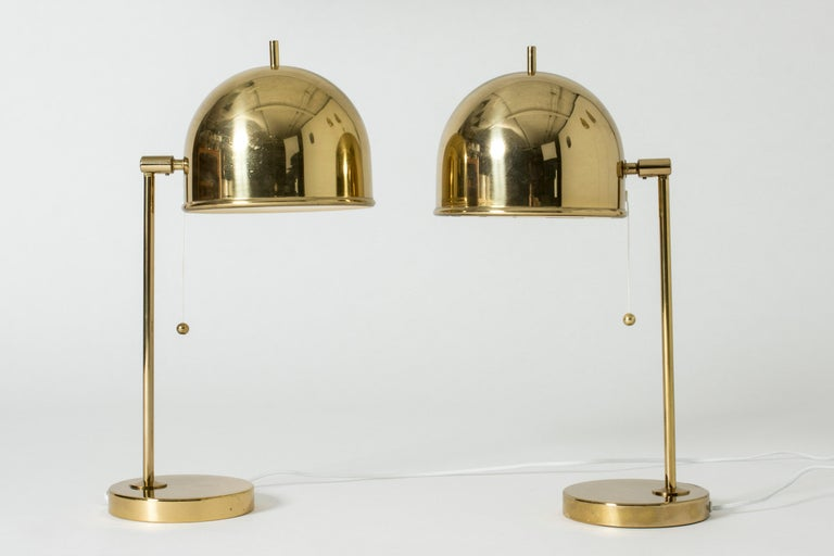 Pair of Brass Table Lamps from Bergboms, Sweden, 1960s In Good Condition For Sale In Stockholm, SE