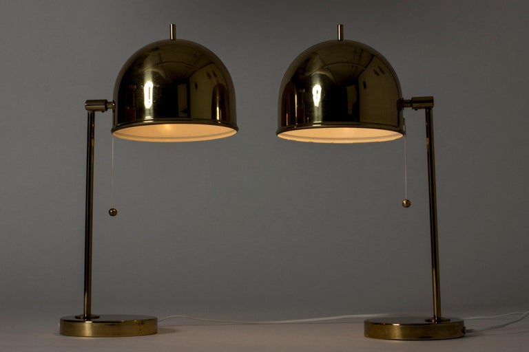 Mid-20th Century Pair of Brass Table Lamps from Bergboms, Sweden, 1960s For Sale