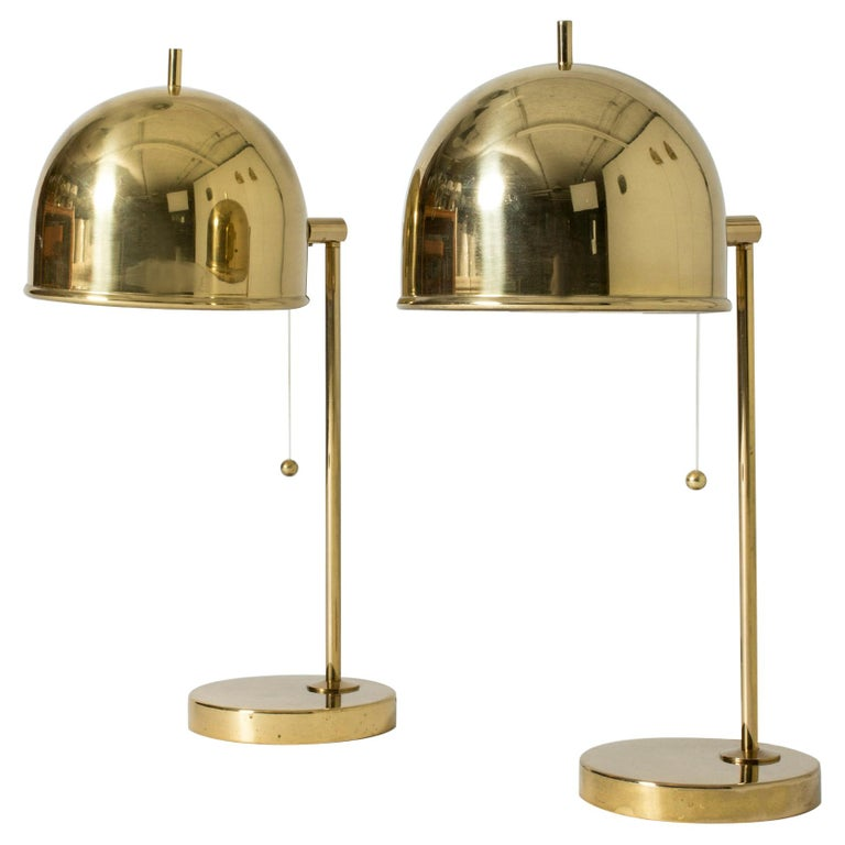 Pair of Brass Table Lamps from Bergboms, Sweden, 1960s For Sale