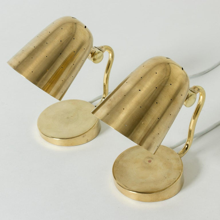 Scandinavian Modern Pair of Brass Table Lamps from Boréns, Sweden, 1950s For Sale