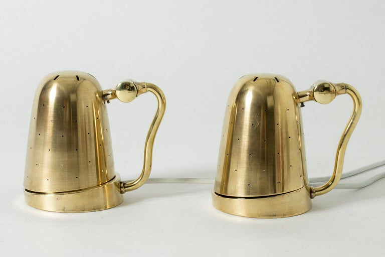 Mid-20th Century Pair of Brass Table Lamps from Boréns, Sweden, 1950s For Sale