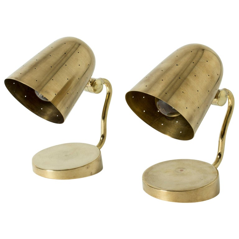 Pair of Brass Table Lamps from Boréns, Sweden, 1950s For Sale