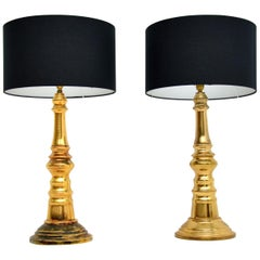 Pair of Brass Table Lamps Vintage, 1970's