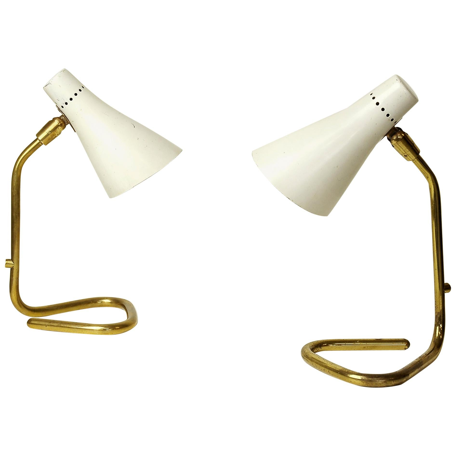"""Pair of Brass Table Lamps """"Vipere"""" by Giuseppe Ostuni for O-Luce, Italy, 1950s"""