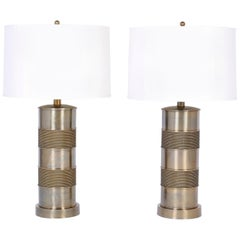 Pair of Brass Table Lamps with a Nautical Vibe