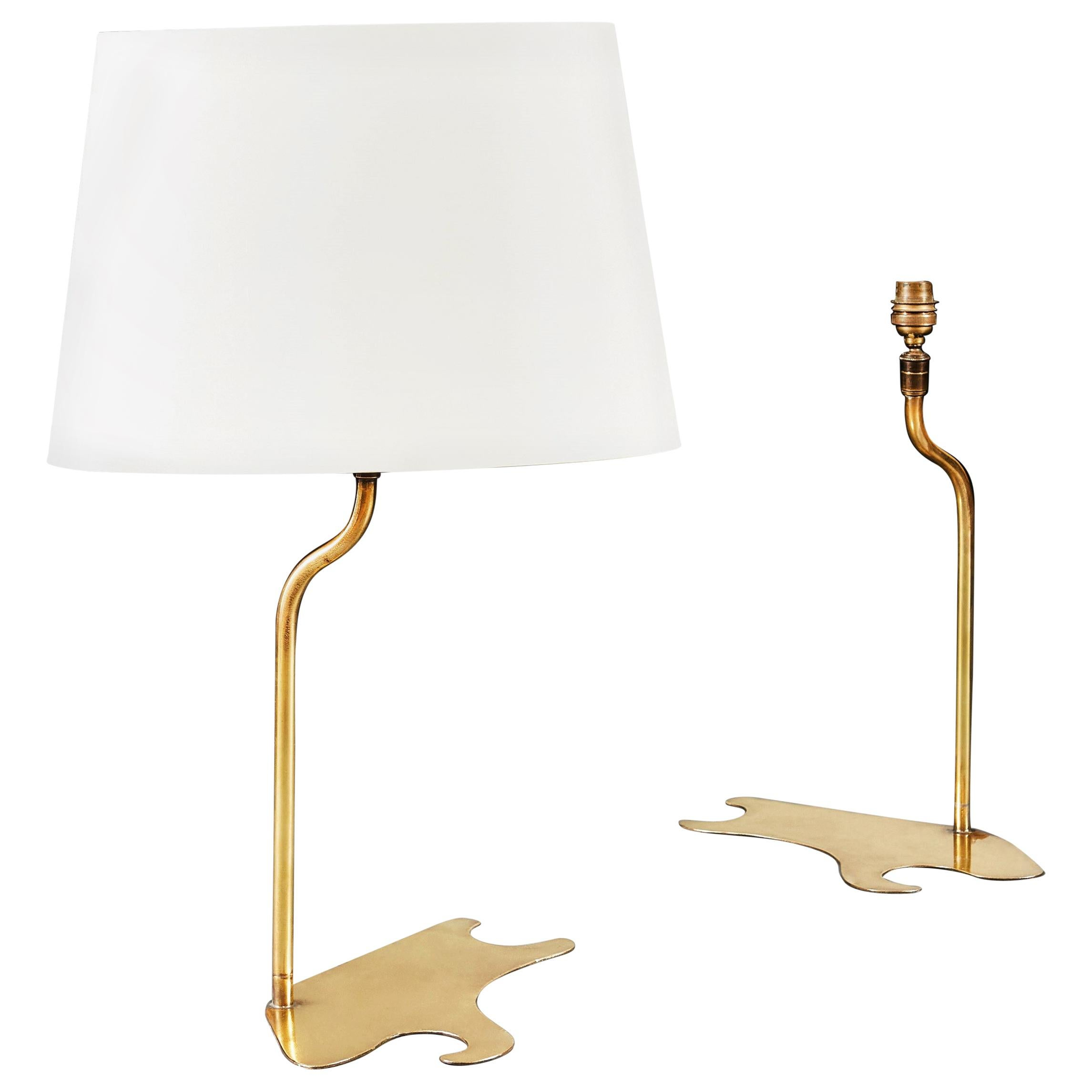 Pair of Brass Table Lamps with Painters Palette Form Bases