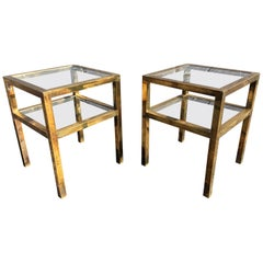Pair of Brass Tables in the Style of LaVerne