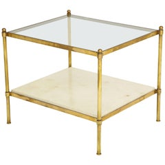 Pair of Brass Tables with Parchment Bases and Glass Tops