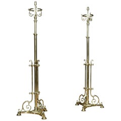 Pair of Brass Telescopic Standard Lamps
