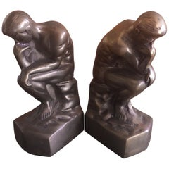 """Pair of Brass """"Thinker"""" Bookends in the Style of Auguste Rodin"""