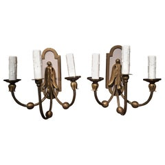 Pair of Brass Three-Light Sconces with Painted Backs, 20th Century