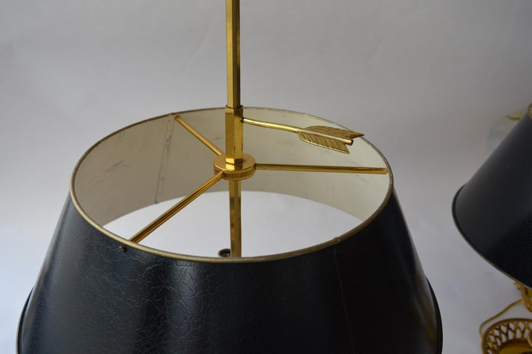 20th Century Pair of Brass Tole Table Lamps For Sale