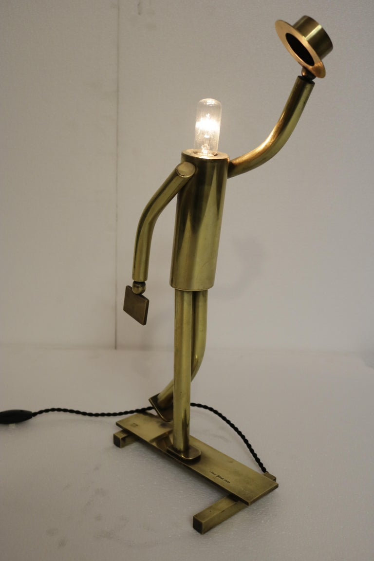 20th Century Pair of Brass Top Hat Figurine Lamps For Sale