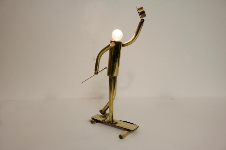 Pair of Brass Top Hat Figurine Lamps For Sale 2