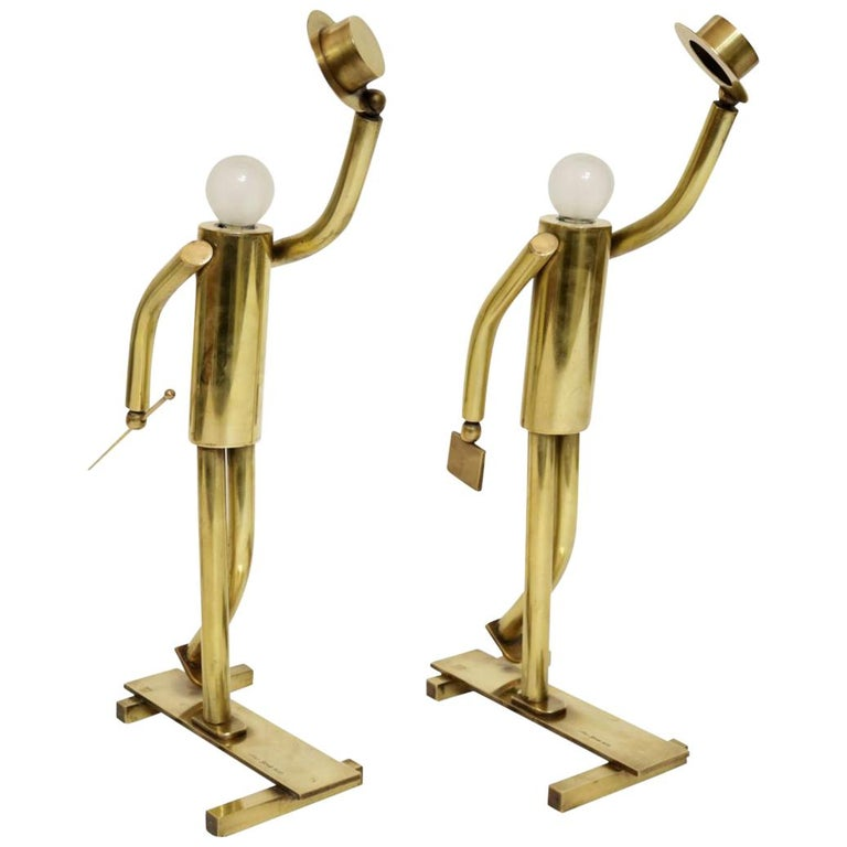 Pair of Brass Top Hat Figurine Lamps For Sale