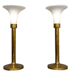 """Pair of Brass """"Touch"""" Lamps"""