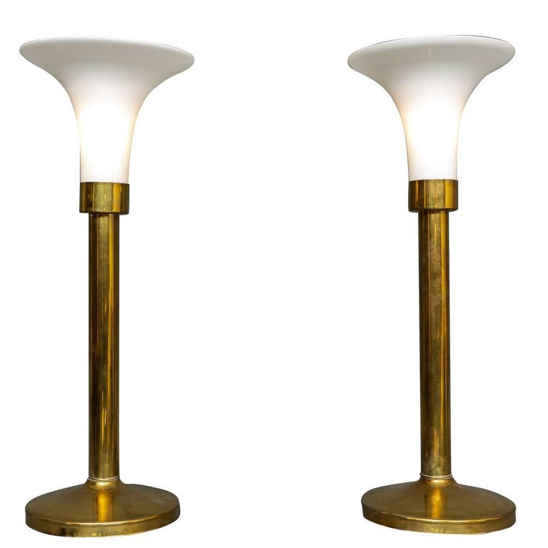 """Pair of Brass """"Touch"""" Lamps For Sale"""