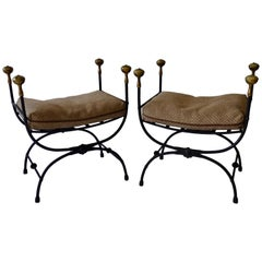 Pair of Brass Trim Forged and Wrought Iron Benches