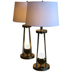 Pair of Brass Tripod Lamps by the Torino Lamp Co., Italy 1960s