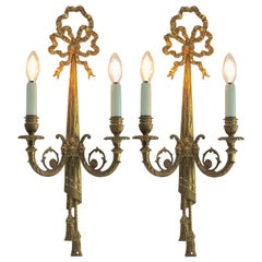 Pair of Brass Two-Light Sconces in Louis XVI Style