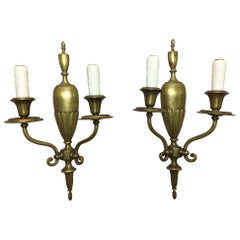Pair of Brass Two-Light Urn Back Sconces, 20th Century