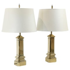 Pair of Brass Underwriter's Laboratories Rembrandt Lamps Newly Wired