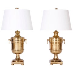 Pair of Brass Urn Table Lamps by Ralph Lauren