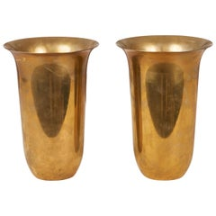 Pair of Brass Vases by Walter Von Nessen for Chase