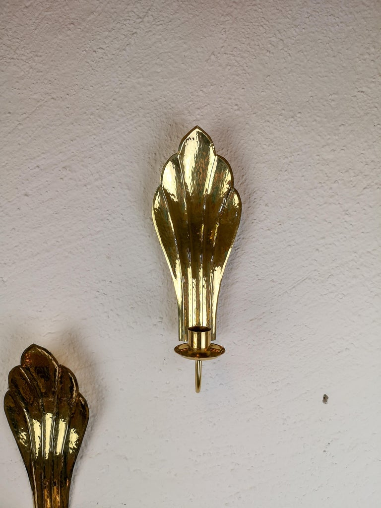 Pair of Brass Wall Candlesticks Holmström, Arvika, Sweden, 1960s In Good Condition For Sale In Langserud, SE